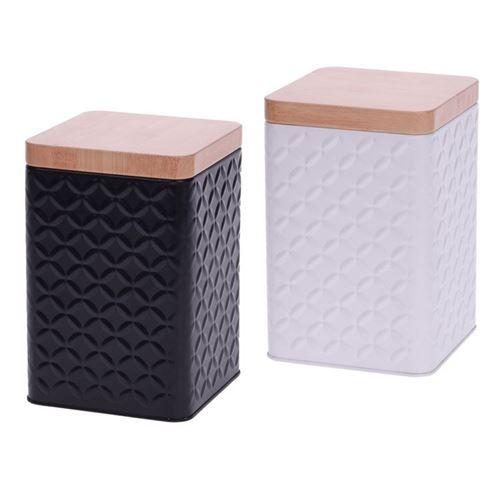 Metaldåse med bambuslåg 10,5x10,5x16 cm